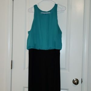 Teal/Black Wide Leg Jumpsuit